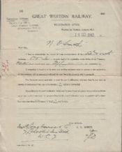 Collectible old Railway receipts etc from 1893 #070